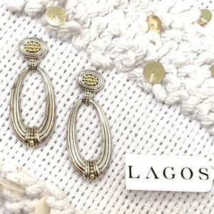 LAGOS .925 Silver Fluted Oval Drop Earrings